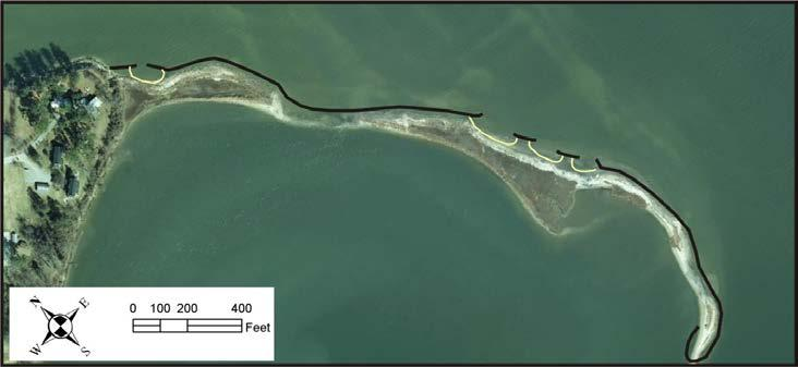 The typical cross-section for the system is shown in Appendix 3, Figure 1B. Figure 5-9. Penniman Spit in 2012 (Bing Maps) showing the breach through its middle.