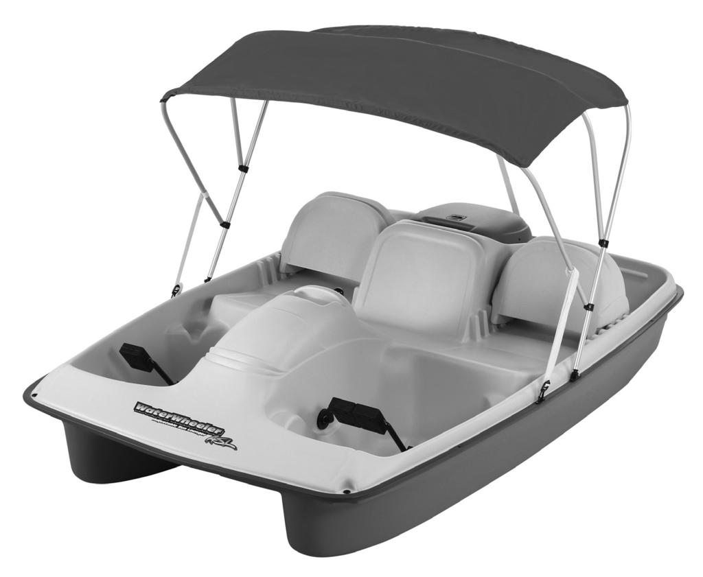 Water Wheeler 5 Features 5 seats with high back support cooler or storage area Self-draining bench seat to help keep seating area dry Internal steering linkage system which eliminates damage from