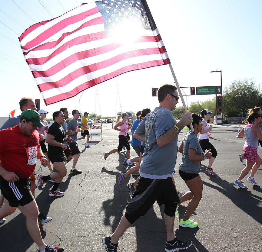 2 mile course winds through the streets of Tempe and is staged all participants finish on the 42-yard line on Frank Kush Field, symbolic of the so that all participants finish on the 42-yard line on