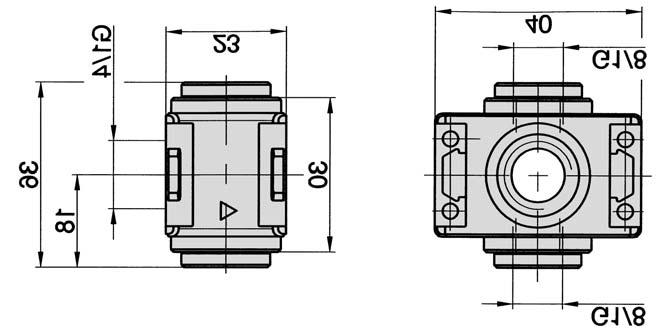 Distribution block and pressure switch, model TK G1/4 Distribution manifold block for additional air supply or other components. This unit can be combined with pressure switch PE-18-01-40 (see page 8.