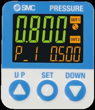 3-Screen Display High-Precision Digital Pressure Switch ISE70/71 Series Visualization of Settings Mode Examples Hysteresis mode The sub screen (label) shows the item to be set.
