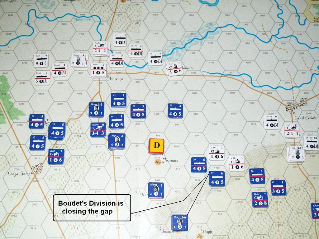On the Austrian Left Wing, one squadron of the 1 st Dragoons is forced to retreat after combat with the French 70 th Line. Another squadron is pushed back after an attack by the 72 nd Line Infantry.