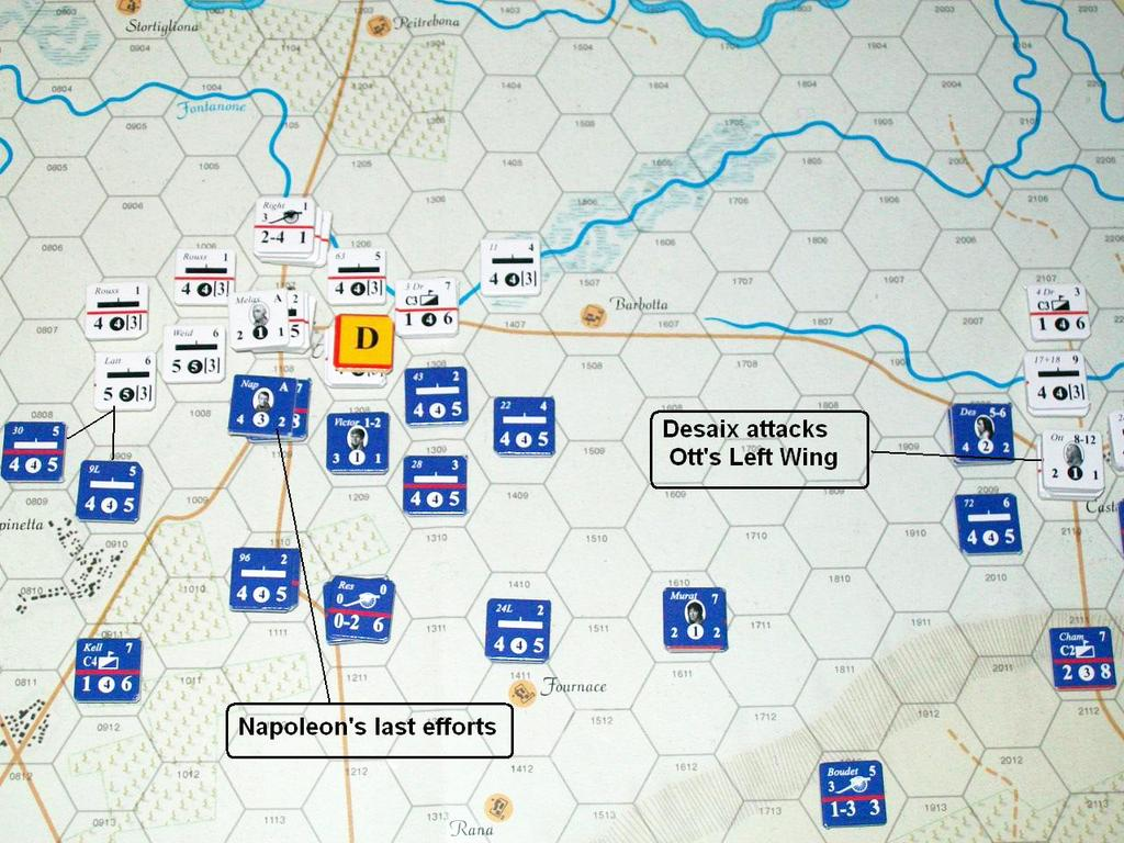 Marmont s Artillery line fires at the Austrian 23 rd in Marengo, but the enemy passes the morale check. On the French left, Monnier s Division attacks Lattermann s Brigade. This has no effect.