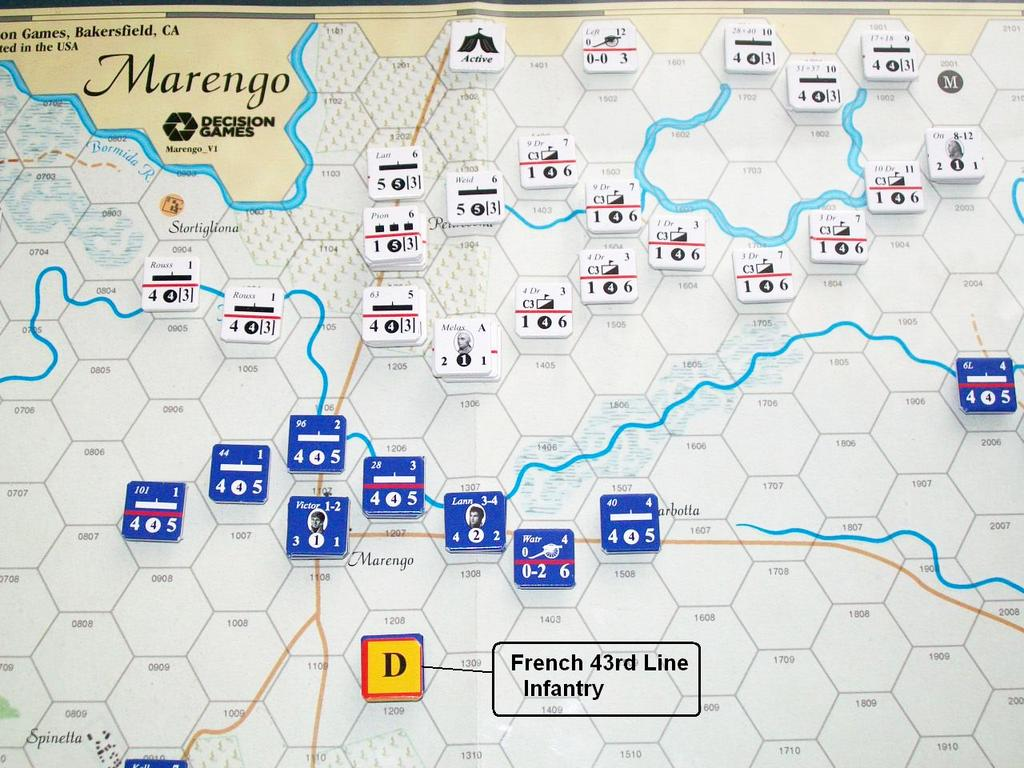 The French 24 th Light is reduced a step and Frimont s battalion is eliminated. Both units have a safe line of retreat. Gen. Monnier s Division is delayed, failing the entry die roll.