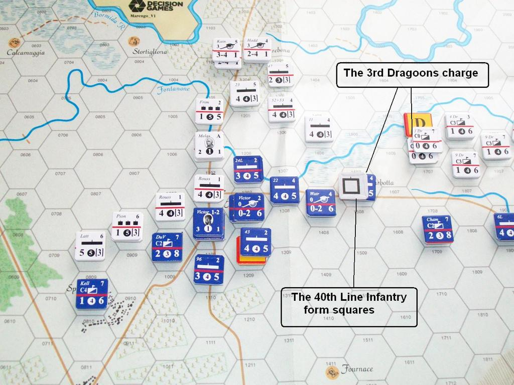 The 23 rd Brigade and 52 nd and 53 rd battalions are coordinated for an attack against Lannes and the 24 th Light on the Fontanone. The Austrian attack is turned back, but Lannes becomes a casualty.