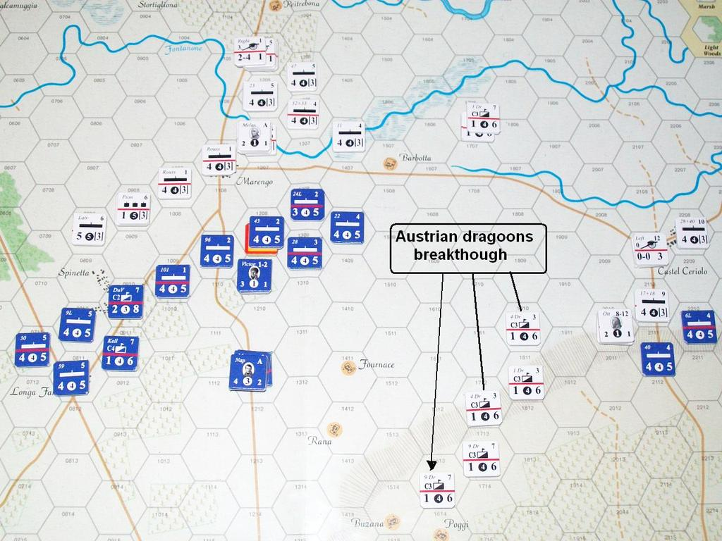 These quickly march forward to stem the Austrian breach. Watrin s Division falls back toward Villanova, with Champeux s cavalry screening the road.