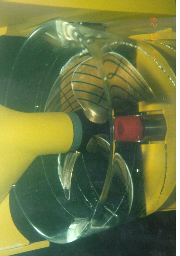 Cavitation testing of propellers Purpose: investigation of: Cavitation induced erosion of propeller blades Effect of cavitation on