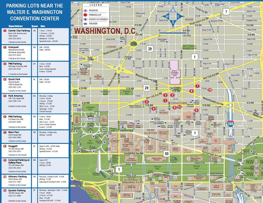 PARKING INFORMATION For Information on Hotels nearby the Convention Center, please call Hans