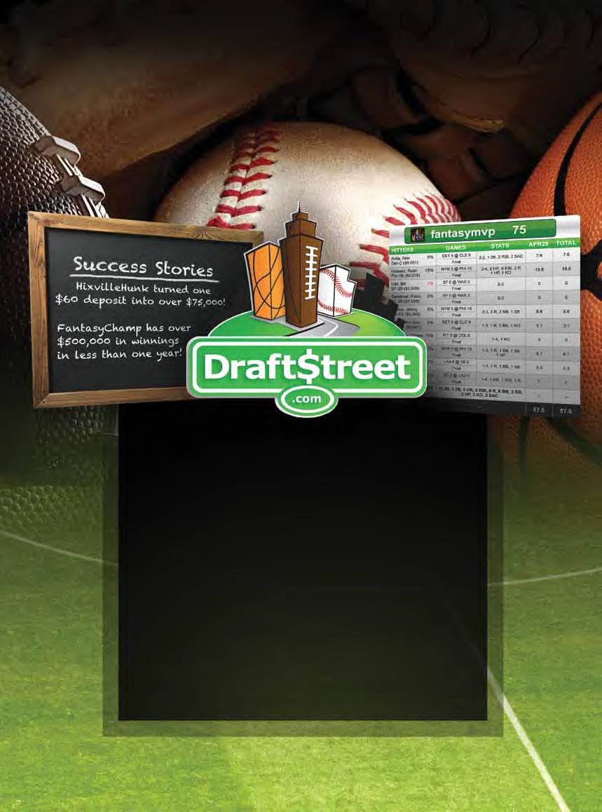 www.draftstreet.com OVER $20MM Awarded to Date Daily and weekly fantasy sports!