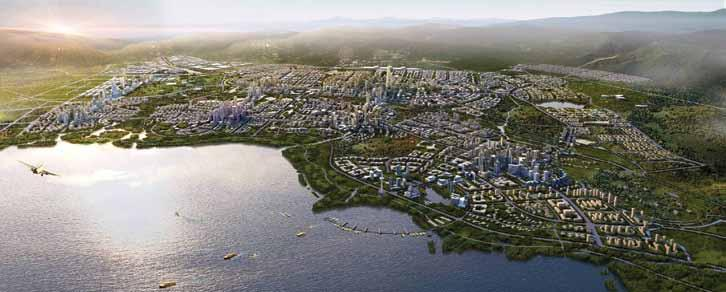 The plan for Chenggong: The principles have been combined to create a mixed-use, walkable, and livable town.