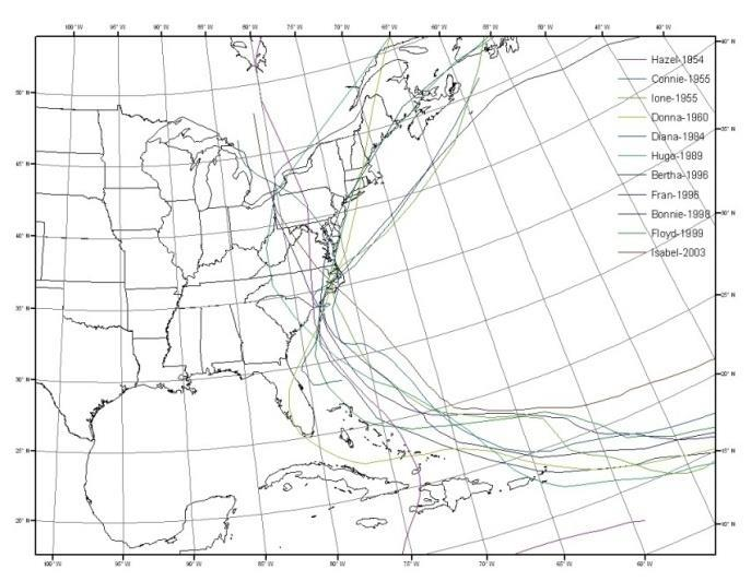 Storm Surge Model Statistical Run Storms Tropical Synthetic Storms Historical Tropical Storms - After 1940 Storms with