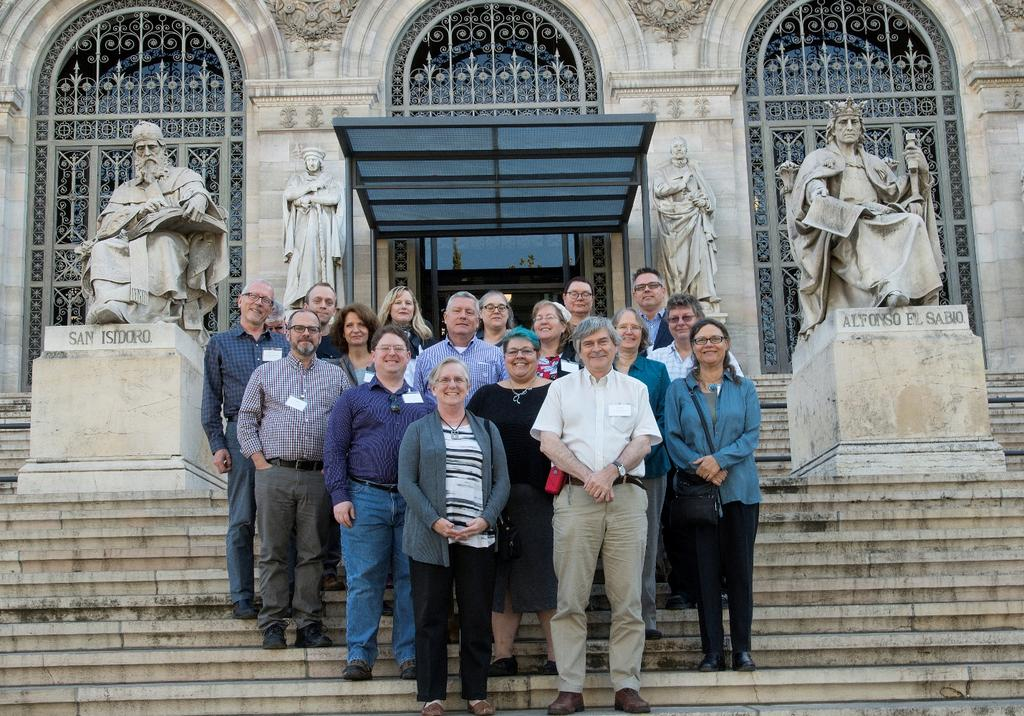 Page 7 of 20 RSC+ in October 2017 at the Biblioteca Nacional de España: Back row (left to right): William Leonard, Francis Lapka, Kate James, Pat Riva, Ebe Kartus, Daniel Paradis; Third row: James