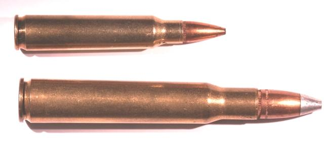 Rifle Ammunition Bottleneck Cartridge - A cartridge case having a main diameter and a distinct angular shoulder stepping down to a smaller diameter