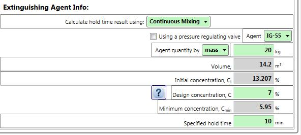 As well as the Agent quantity and initial and design concentrations, the Minimum concentration value will be displayed.