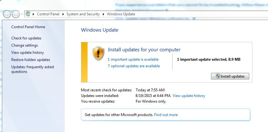 6.2 Install your Windows Updates Make sure all the important and optional updates are installed for Microsoft Windows. This is particularly important for older versions such as Windows XP.