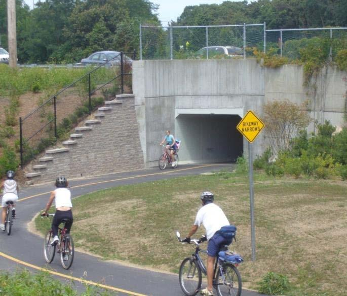 BRIDGES AND UNDERPASSES Maintain at least minimum path and shoulder widths, typically 14 feet (10-foot