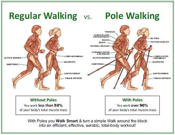 You can hike or trek with Nordic Walking poles, but you cannot Nordic Walk with strapless hiking or trekking poles.