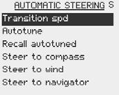 Return to the Installation menu item Automatic steering if you want to adjust the steering parameters.