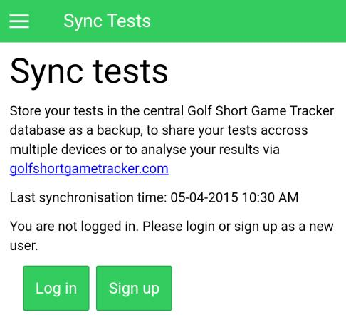 To be able to sync the test data you need a login account for the Golf Short Game Tracker website. You can create this account via the Sign Up button.