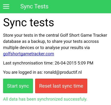 If the log in succeeds you will return to the Sync Tests screen. To sync the test data press the Start sync button. This will start the synchronization process.
