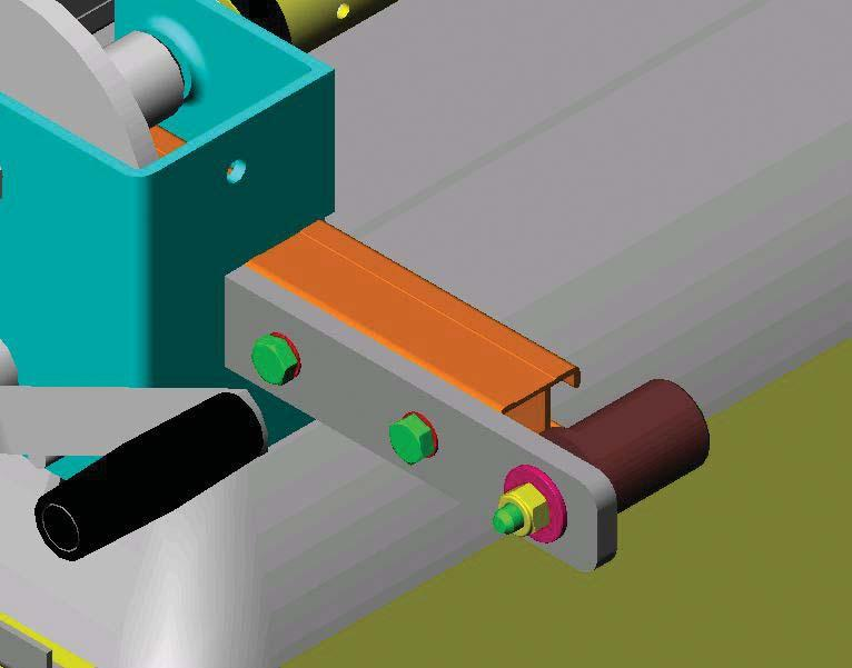Slide the winch side pivot roller bracket into the longitudinal bar so that the end of the bracket is against the