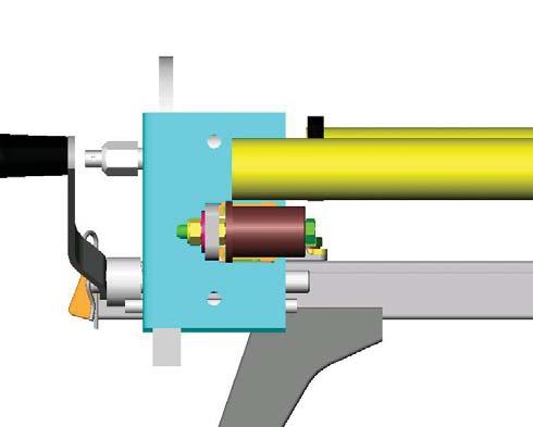 Marking and cutting the roller. Align one end of the roller with the inside edge of the roller bush flange.