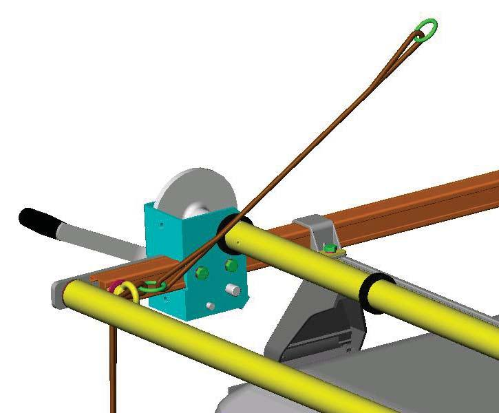 500mm 250mm Splice the free end onto the tie down line rings, at a length of 500 mm from the previously attached ring, as per the diagram.