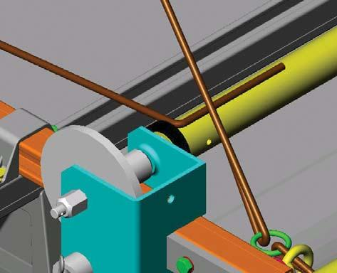 Fitting the winch lines to the power roller Cut the remaining rope in half. Lay, 150 mm length of rope along the top surface and inline with the power roller.