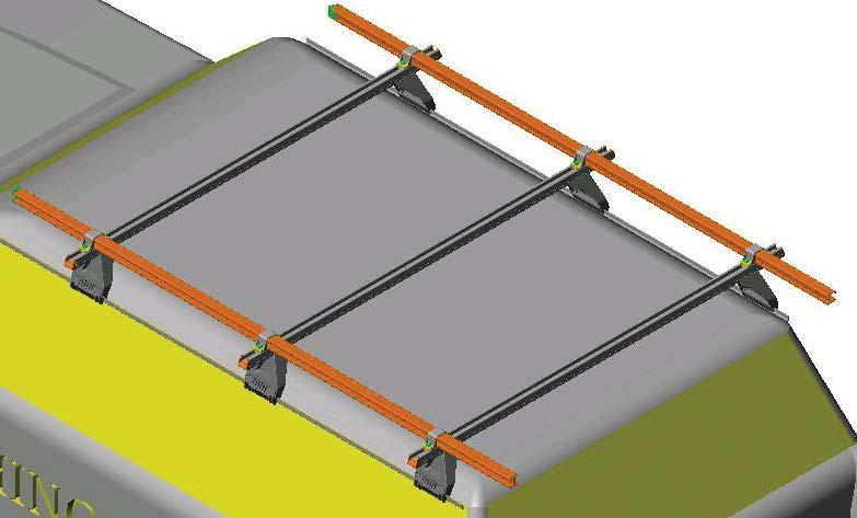 Place the longitudinal bars onto the crossbars with the hooked section of the bars facing outward.