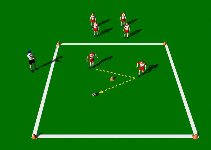 "The Give and Go This practice is designed to introduce the novice player to the correct mechanics involved in the execution of the Give and Go"" pass. Area 10 x 10 yards. Small group of players."