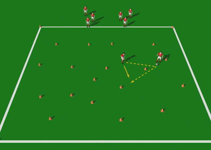 "The Mine Field This practice is designed to introduce the novice player to the correct mechanics involved in the execution of the Give and Go"" pass. Area 20 x 20 yards. Large group of players."