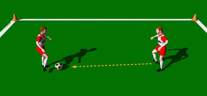One Touch, Two Touch This practice is designed to improve a players quick thinking to play one or two touch passes. Area 10 x 10 yards. 2 players. 1 ball.