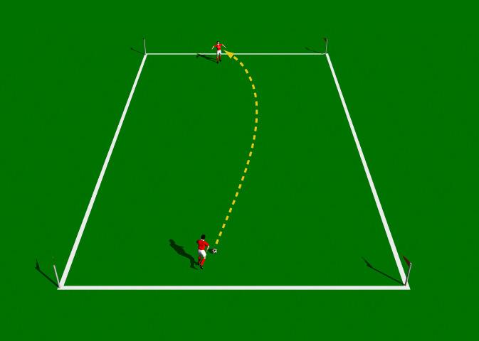 Lofted Pass Drill This practice is designed to introduce the correct mechanics involved in the execution of the Lofted Pass. Area 10 x 30 yards. 2 players. 1 ball. Cones.