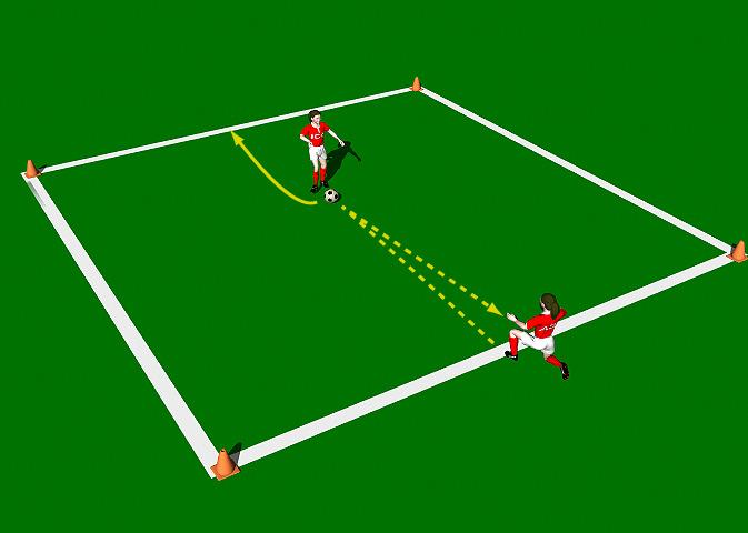 One Player Relay This practice is designed to improve the technical ability of the Push Pass with an emphasis on pace and accuracy. Area 10 x 10 yards. Two players. One ball, Four cones.
