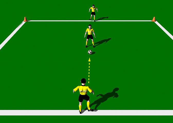 "Under the Bridge This practice is designed to improve the correct mechanics involved in the execution of the Push Pass"" with an emphasis on accuracy. Area 10 x 10 yards. Three players."