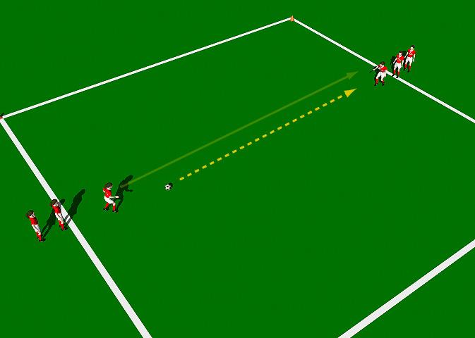 "Pass and Run This practice is designed to improve the correct mechanics involved in the execution of the Push Pass"". Area 10 x 10 yards. Small group of players. 1 ball. Cones."