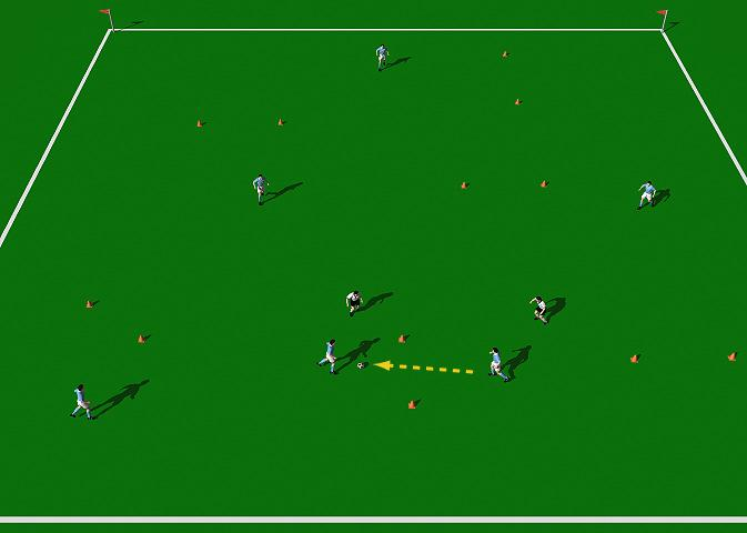 Sit on the Ball Game This practice is designed to encourage quality short range passing and good support off the ball. Area 40 x 40 yards. Large group of players. Balls. Cones. Colored bibs.