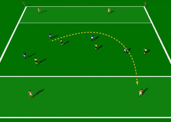 Chip to Target Drill This practice is designed to improve the quality of individual chip passing. Areas 40 x 30 yards. Large group of players. Balls. Cones. Colored bibs.