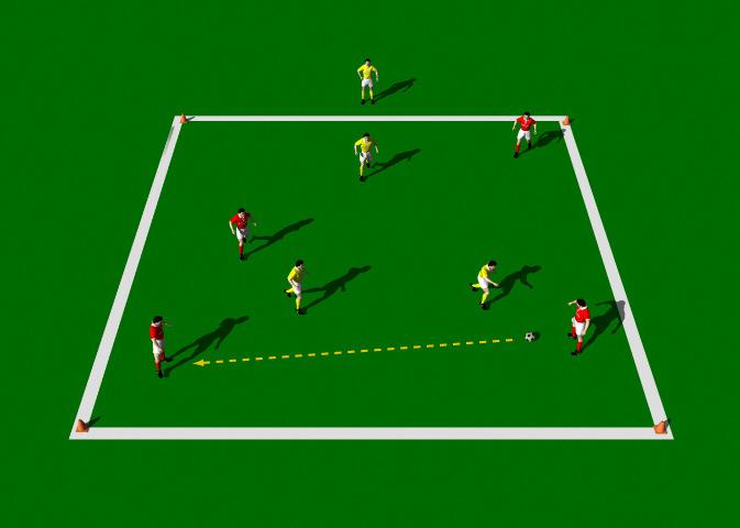 "4 v 3 One On, One Off This is a great practice to help improve quick passing and decision making. Emphasis is on 'one' and ""two' touch passing, angles of support, disguise and communication."