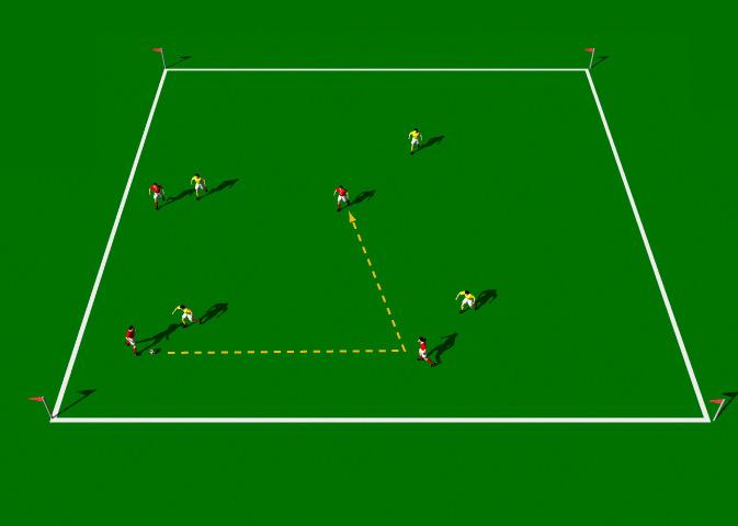 Four against Four This practice is designed to improve Marking and finding space, Alternating between long and short passes, Harassing the player with the ball and Defensive co-ordination.