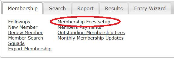 Membership Fees Club logins into My Swim Results can maintain the Club portion of the club fees through the Membership Fees Setup. On the Membership Tab click on Membership Fees Setup.