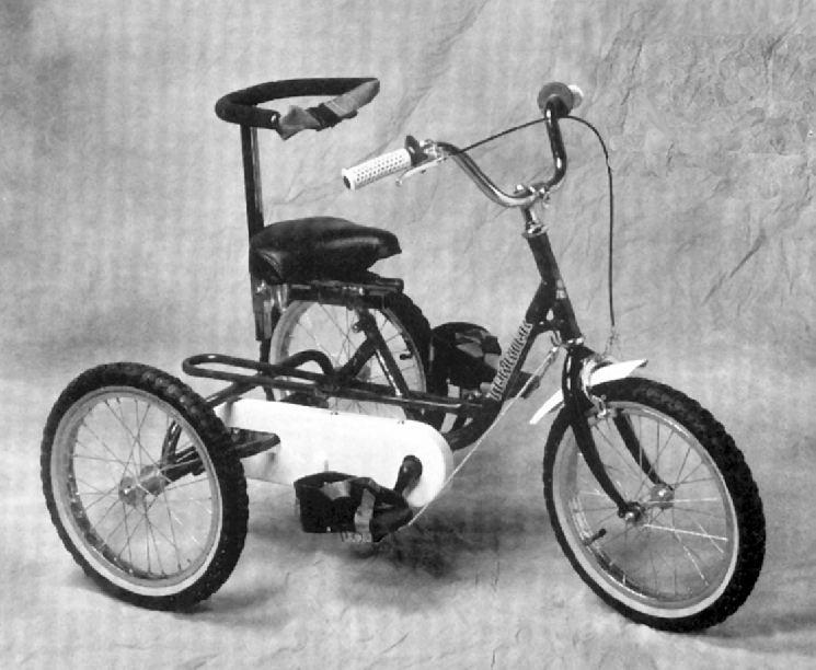 DIAGRAM 1 Back/Trunk Support Handlebars Steering Column Drive Wheel Steering Stop Free Wheel Front Wheel Chain Guard Crank Arm Foot Sandals YOUR NEW TRICYCLE The IMP, Terrier, TMX and Tracker models