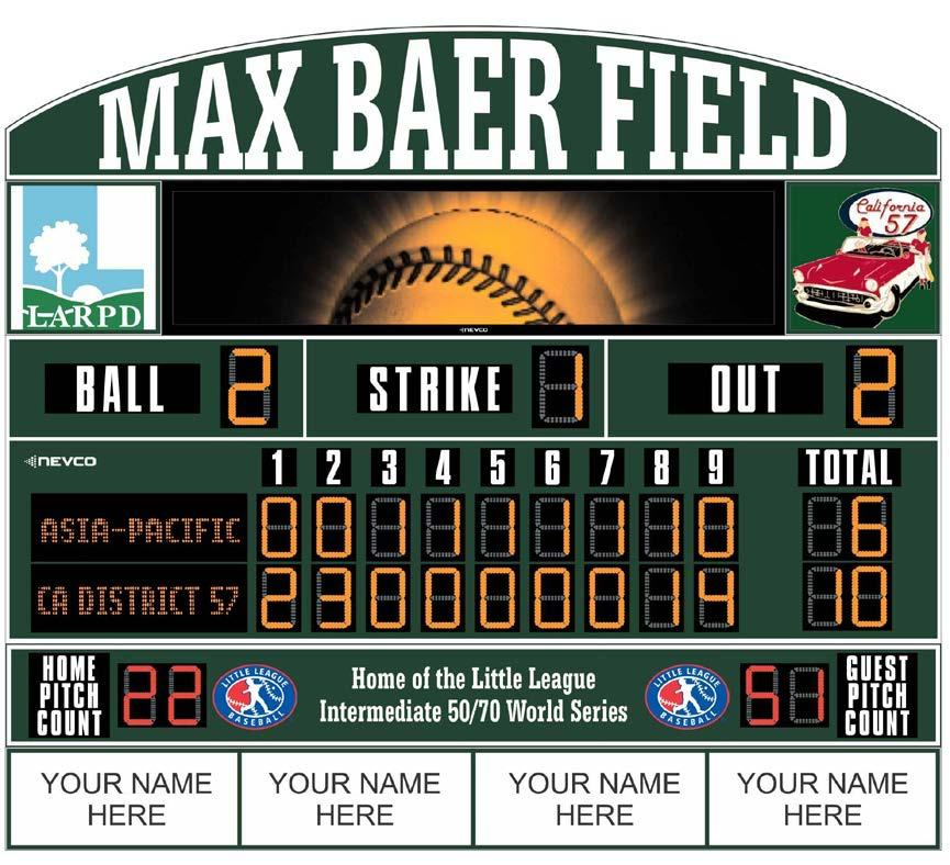 Score Board Sponsor New state-of-the-art scoreboard being installed in 2015 Large 18 x 6 Size Will be located in Right-Center field of Max Baer 1 field Four (4) Sponsorship panels o Will stay on the