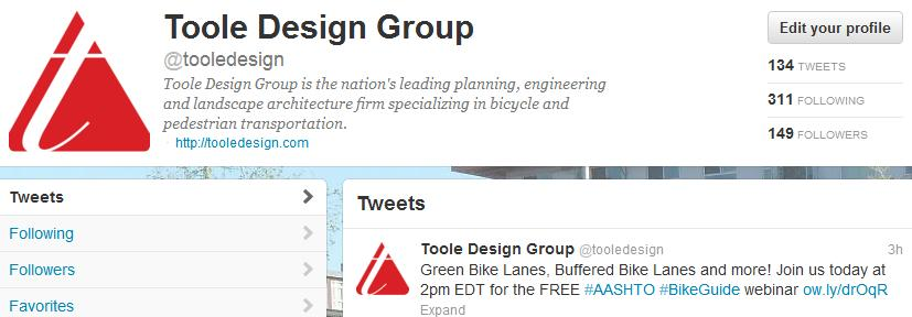 FOLLOW THE CONVERSATION ON TWITTER Toole Design Group is