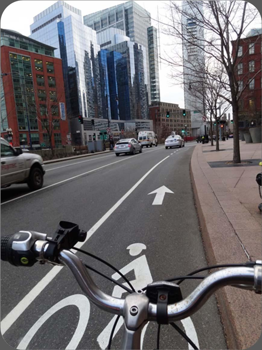 BICYCLE LANE WIDTHS NO GUTTER WITH CURB (NO PARKING) 5 foot typical 4 foot allowed