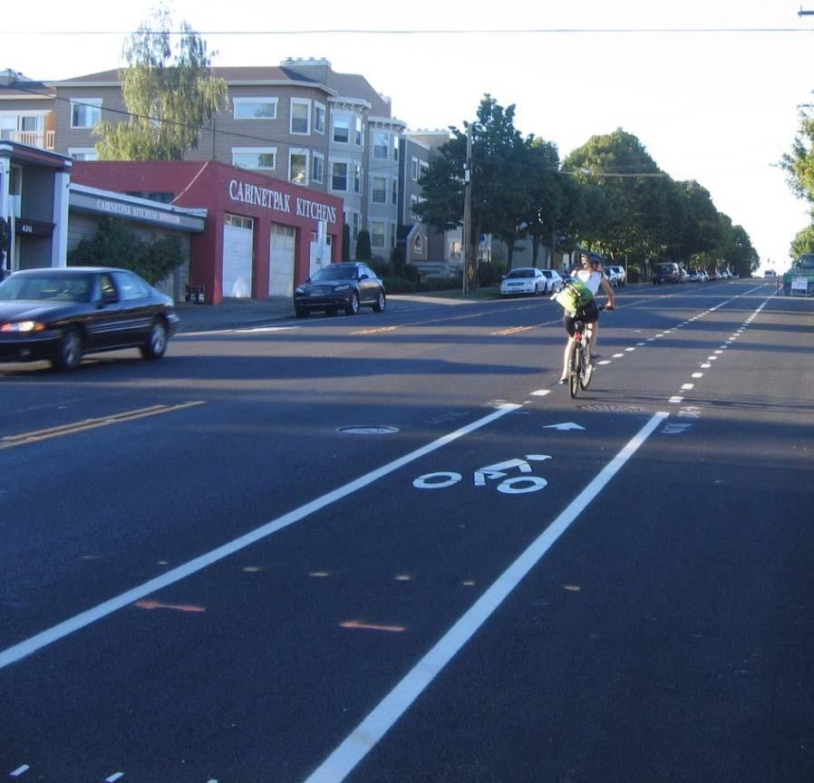 CLIMBING LANES ON TWO WAY STREETS Install bike lane in