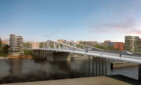 Figure 12 - Rendering of new Johnson Street Bridge, East view, no boat, bridge closed Scope of Work Once model validation is complete (single day), the maritime simulation study testing is proposed