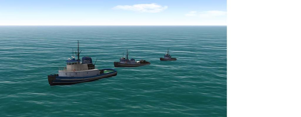 2 Study Objectives and Setup Simulator Setup The PMI simulation environment consisted of three interconnected vessel bridges, with visualizations of two manned working tug bridges and one manned