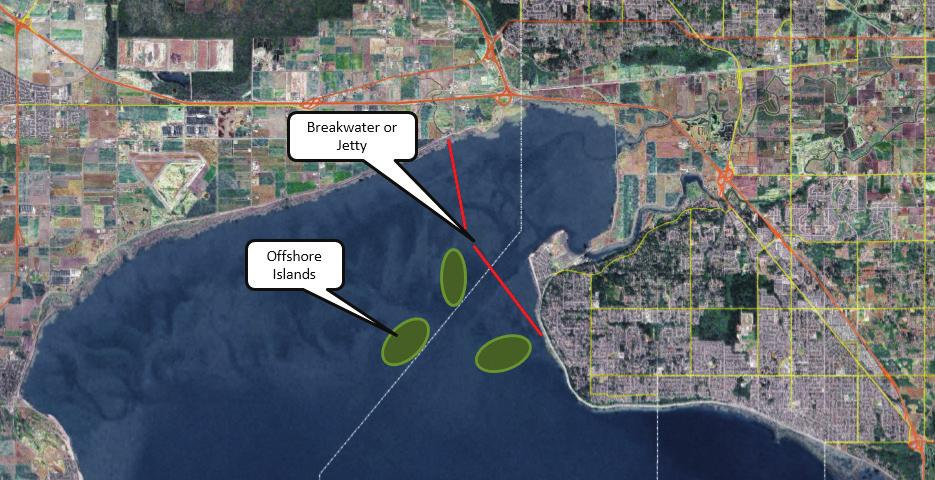 16 RESPONSE 4: BUILD OFFSHORE ISLANDS / FEATURES This City of Surrey rendering shows what offshore islands and a breakwater could potentially look like in Crescent Beach.