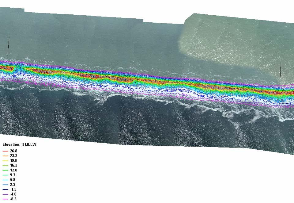 Jetty Cross-Section Damage Documented Using Jetty Topography Developed from Aerial photography Damage Areas Example for Assessing Condition of MCR